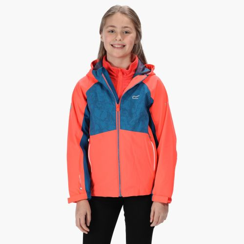 Kids' Hydrate IV Reflective Waterproof 3 In 1 Jacket Fiery Coral Petrol Blue